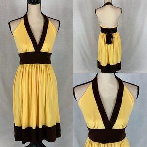 Maggie London Yellow/Brown Halter Dress SZ 6